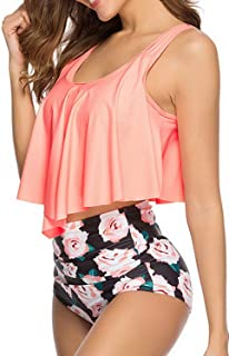 Women's Swimsuit Bikini Two Pieces Bathing Suits Ruffled Racerback Top with High Waisted Bottom Tankini Set