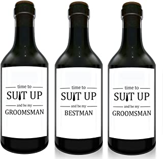 """""""Time to Suit Up"""" Mini Wine Bottle Label Stickers 