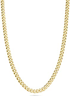 Solid 18k Gold Over 925 Sterling Silver Italian 3.5mm Diamond Cut Cuban Link Curb Chain Necklace for Women Men, 13+2, 16, 18, 20, 22, 24, 26, 30 Inch Made in Italy