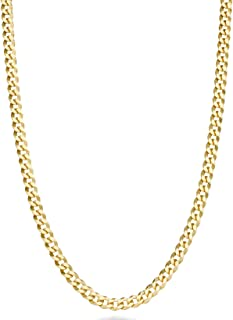 Solid 18k Gold Over Sterling Silver Italian 3.5mm Diamond Cut Cuban Link Curb Chain Necklace for Women Men, 16