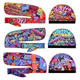 Premium Silky durag for Men (Multi Colors) & wave cap pack,Designer Durag & silky wave cap with Hip-hop Pattern,Extra Long & Wide Tail for 360 wave