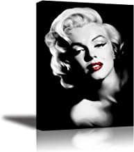 Monroe Canvas Wall Art, PIY Red Lips Monroe Wall Decor, 1 Piece Black and White Canvas Prints for Bedroom, 1