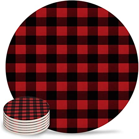 Red and White Buffalo Gingham Check Reversible Beverage Coasters Mug Rug Select your Set Holiday Table Decor