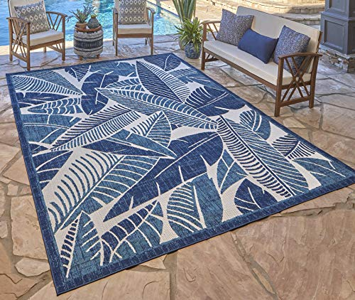 Gertmenian 21617 Indoor Outdoor Rugs Patio Area Carpet, 5.25x7 Standard, Tropical Leaf Abstract Royal Blue