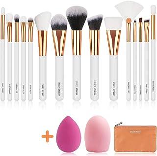 BABI BEAR 15 PCs Makeup Brushes Set Premium Synthetic Kabuki Foundation Brush Professional Wooden Handle Makeup Brush with Makeup Sponge Brush Cleaner and Travel Makeup Bag (15+3pcs,White)
