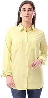 Andora Round Hem Button-Front Heathered Shirt for Women