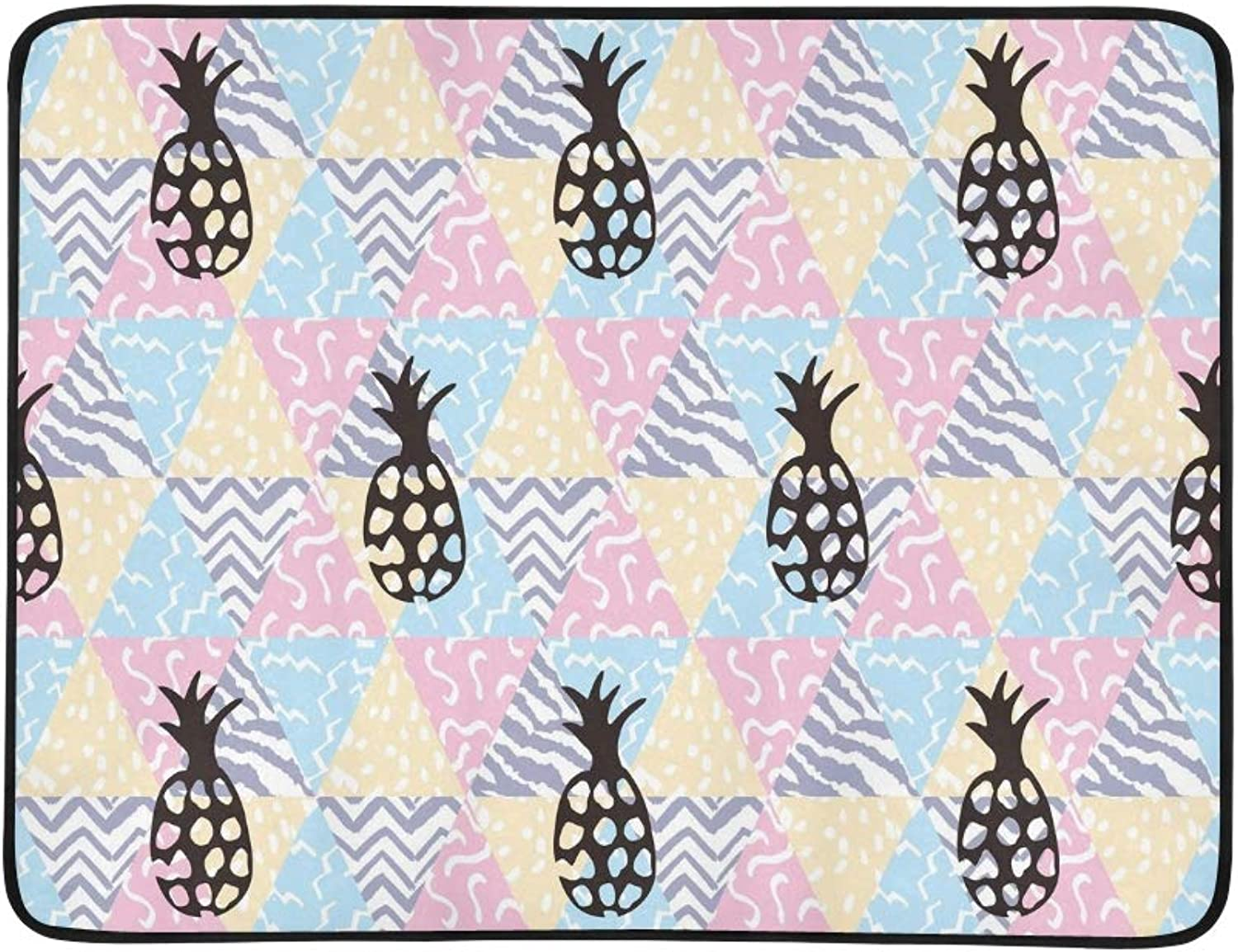 Pineapple Geometric Portable and Foldable Blanket Mat 60x78 Inch Handy Mat for Camping Picnic Beach Indoor Outdoor Travel