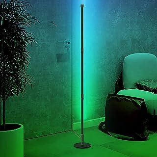 JFIEEI lampadaire angle led, lampadaire led moderne 20W Lampe sur pied rgb avec télécommande pour salon, chambres à couche...