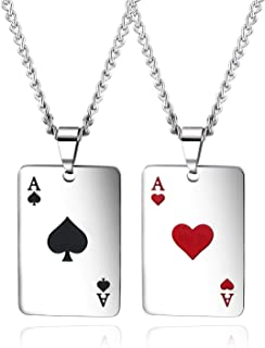 N\C Punk Stainless Steel Playing Card Poker Tag Pendant Necklace for Women Men Girl Boy Lukcy Rock Ace of Spade Heart Roya...