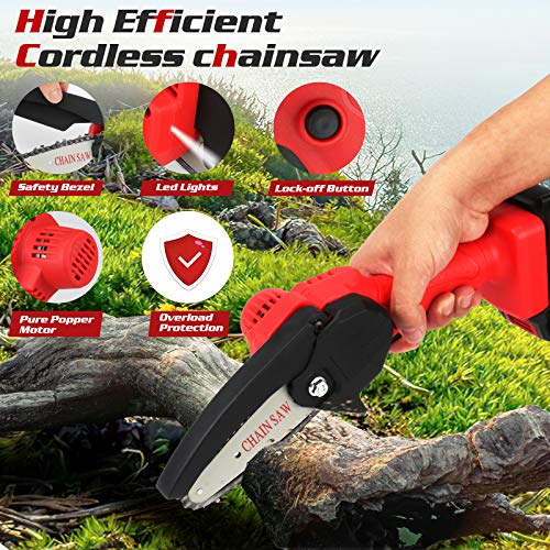 Mini Chainsaw Cordless Power Electric-Chain-Saws - 4 Inch Battery Power Chainsaw Small Portable One-Hand Handheld , 26V Rechargeable Operated, for Tree Trimming and Branch Wood Cutting