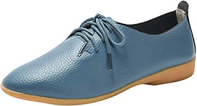 ✚Coollevis✚ ❥ Women's Casual Flat Leather Shoes Ladies Fashion Solid Lace -Up Comfortable Pointed Toe Soft Shoes
