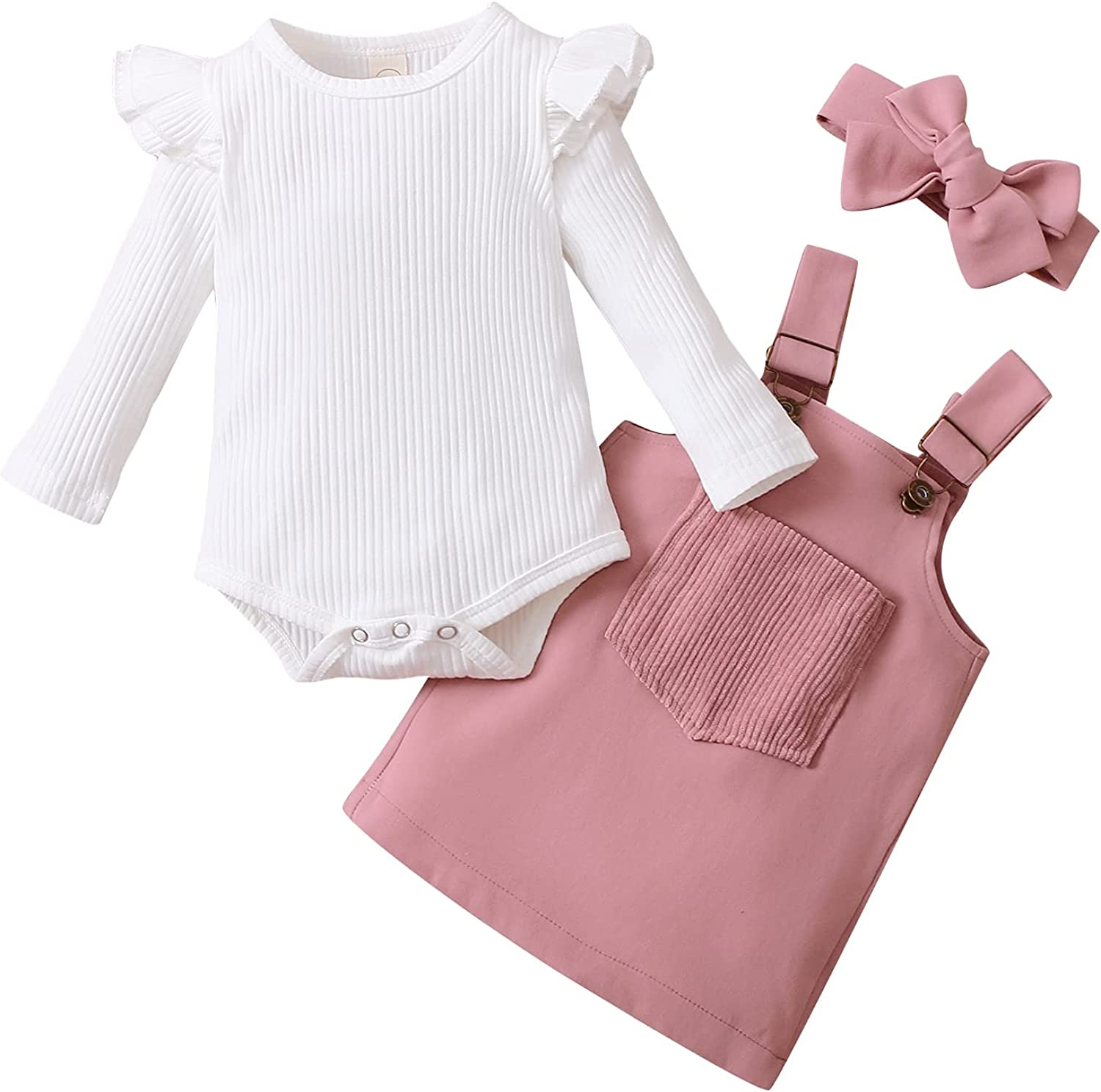 3Pcs Infant Baby Girls Outfit Ruffle Long Sleeve Romper + Front Pocket Suspender Skirt + Headband Clothes Set