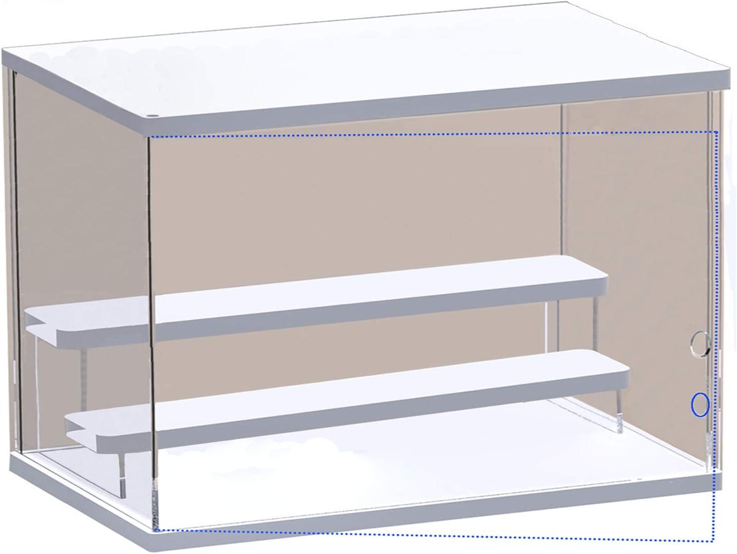 ELEpure Exhibidor de Escalera de acrílico de 3 Niveles, Organizador de Estante de Escalera de Madera, decoración Coleccionable para exhibición de Figuras, muñeca, cosméticos (40x18x22cm)