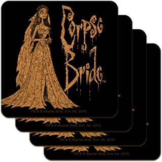 Corpse Bride Logo and Silhouette Low Profile Novelty Cork Coaster Set