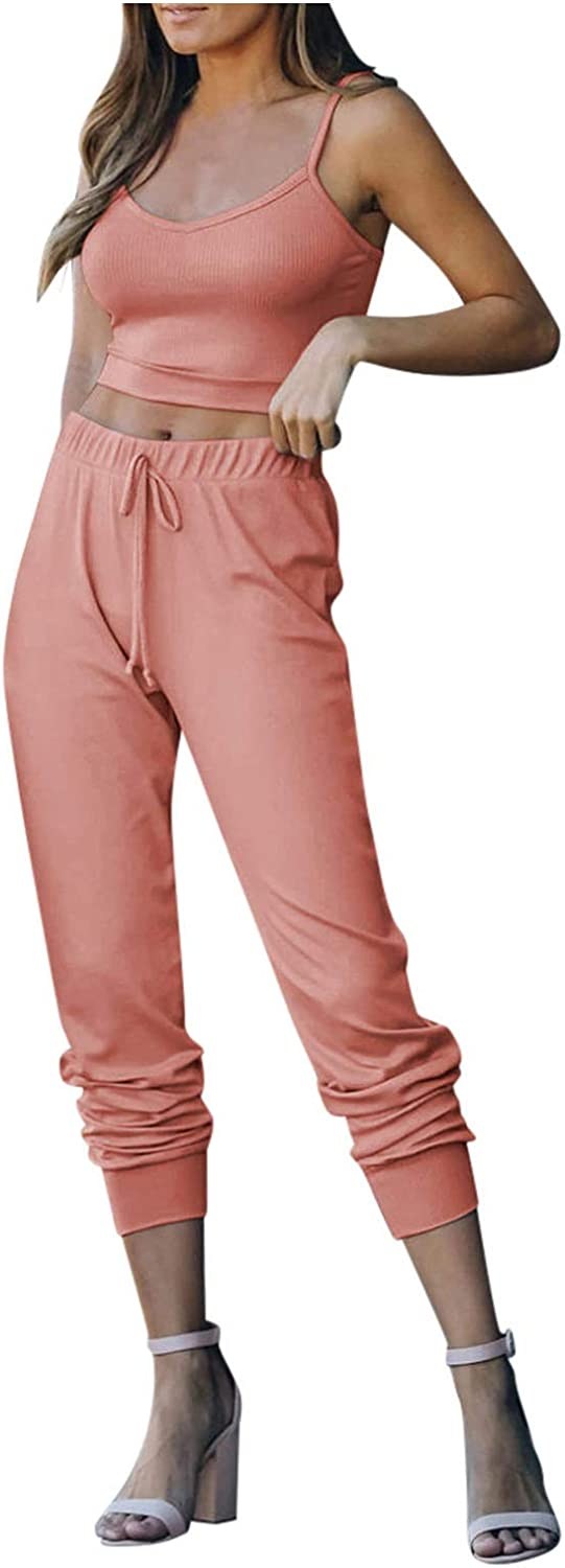 XINXX Womens 2 Piece Outfits Spaghetti Strap Tank Top High Waisted Long Pant Outfits Tracksuit Sports Outfit Sets