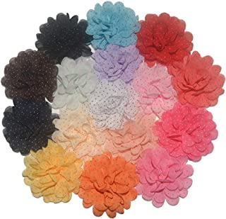 BERON 16pcs 2.8 Inches Handmade Fabric Flower Bow Chiffon Fabric Flowers for DIY Headband Flower Accessories (H0456)