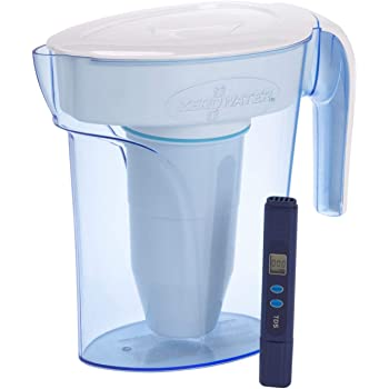ZeroWater ZP-006-4, 6 Cup Water Filter Pitcher with Water Quality Meter,White and Blue