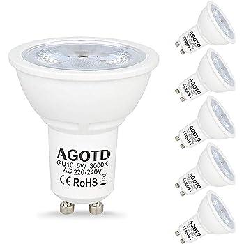 Agotd GU10 Bombillas LED 5W 230V, 35W Bombilla Halógena de 50W, 400 lúmenes, LED GU 10 Foco Blanco Cálido 3000K,38 grados,No Regulable, 6 unidades: Amazon.es: Productos para mascotas