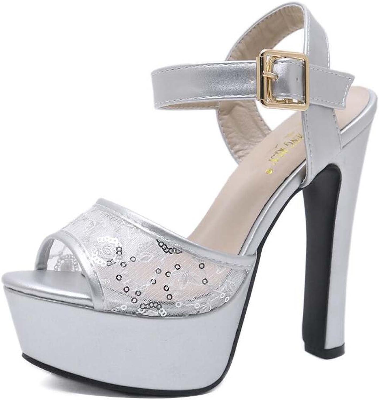 15cm Chunkly Heel 5cm Thick Platform Pump High Heel Sandals Mesh Wedding shoes Women Sweet Peep Toe D'Orsay Slingbacks Ankel Strap Dress shoes Solid Ney Yarn Court shoes EU Size 34-40