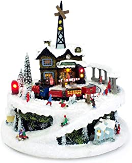 Winter Train Station 6.75 Inch Light Up Musical Tabletop Diorama Plays Various Holiday Carols