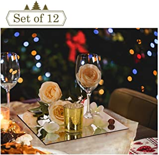 12-inch Square Mirror Trays for Christmas Decoration, Mirror Plate, Candle Tray, Wedding Centerpieces, 12 Pack, Rounded Edge, 2mm Thickness