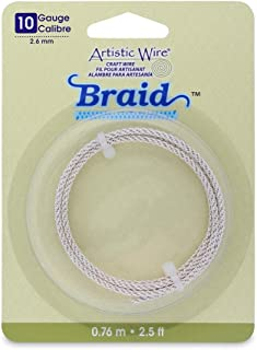 Artistic Wire 10-Gauge Tarnish Resistant Round Braided Jewelry Making Wire, 2.5-Feet, Silver
