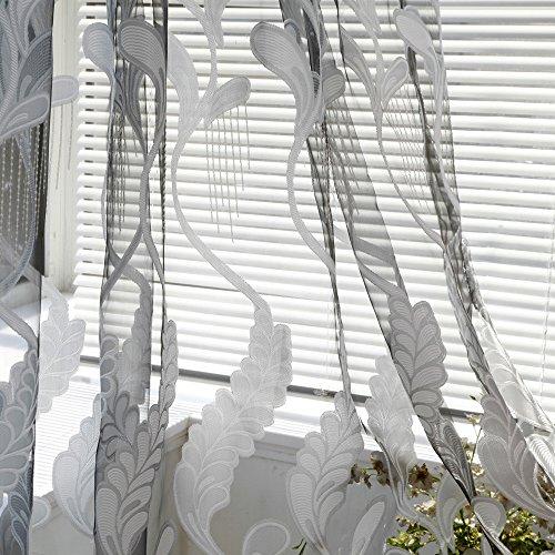 Hniunew Landhaus Style Vorhang Voile Vorhang Mit ÖSen Transparente Gardine Aus Voile Polyester ÖSenschal Transparent Wohnzimmer Luftig Dekoschal FüR Schlafzimmergardine Vorhang Schlaufenschal Deko