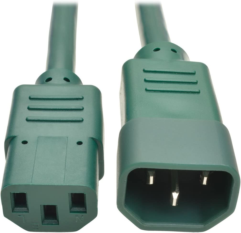 Tripp Lite 6 ft. Heavy Duty Power Extension Cord, C14 to C13, 15A, 14 AWG, Green (P005-006-AGN)