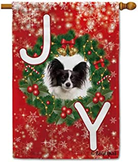 BAGEYOU Merry Christmas Joy Candy Cane with My Love Dog Papillon Decorative House Flag Happy Winter Holiday Snow Bell Holly Decor Banner for Outside 28x40 Inch Printed Double Sided