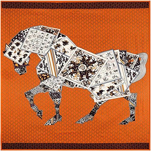 YDMZMS 130 cm * 130 cm 100% Seda Marca Estilo Mujer póker Conjunto Caballo Leopardo Seda Bufanda Cuadrada Primavera Nuevo diseño de Moda chales