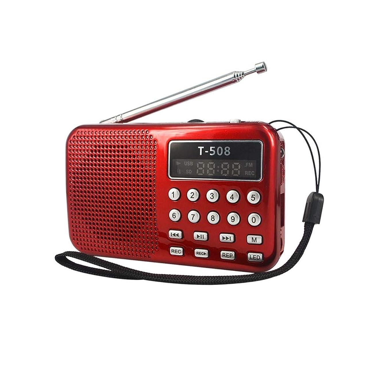 旅客マザーランド先祖BluetoothのスピーカーとSDカードプレーヤーとポータブルステレオFMラジオは、充電式バッテリーラジオLEDディスプレイ (Color : Red)