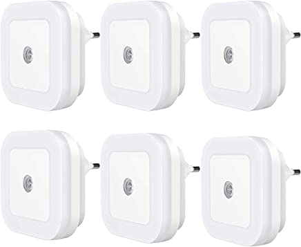 KACOOL 6 Piecss Plug in LED Night Light with Sensor Smart Dusk to Dawn (White)