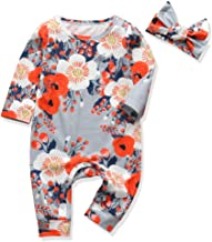 Newborn Baby Girl Clothes Floral Long Sleeve Footless Romper Jumpsuit Cotton