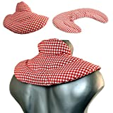 Almohada térmica cervical con cuello. rojo-blanco. Cojín con pepitas de uva. Cojín de nuca. Saco de calor y frio con semillas
