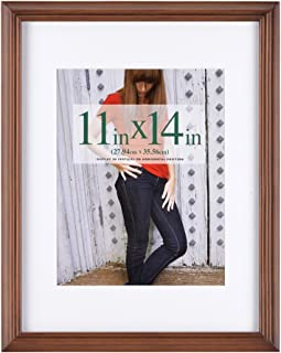 RPJC 11x14 inch Picture Frames Made of Solid Wood and High Definition Glass Display Pictures 8x10 with Mat or 11x14 Without Mat for Wall Mounting Photo Frame Brown