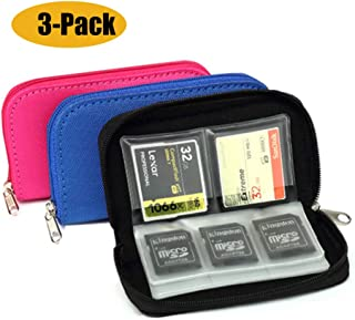 [3-Pack] Mixtecc Memory Card Carrying Case - Suitable for SDHC and SD Cards, 8 Pages and 22 Slots Memory Card Holder Bag W...