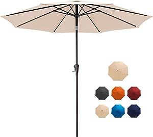 MUCHENGHY 9ft Patio Umbrella Outdoor Umbrella Patio Table Umbrella Garden Market Umbrella UV Protection with Push Button Tilt and Crank 8 Ribs for Outside, Lawn, Deck, Backyard & Pool (Beige)