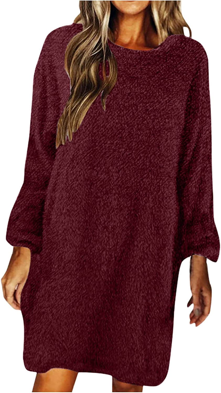 ManxiVoo Women's O Neck Long Sleeve Knitted Dress Plus Size Pullover Sweater Jumper Mini Dress