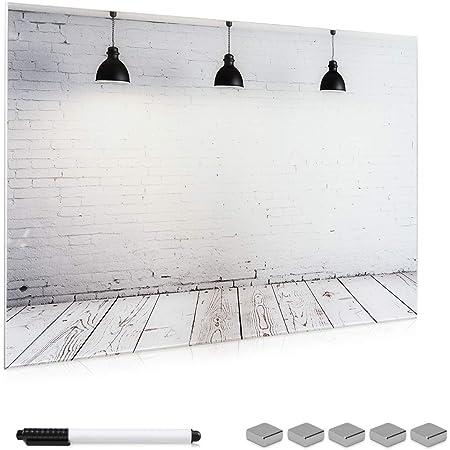 Navaris Tablero magnético de Cristal de 90x60CM - Pizarra magnética de Vidrio con diseño Industrial- Tablero de Notas con Marcador e imanes