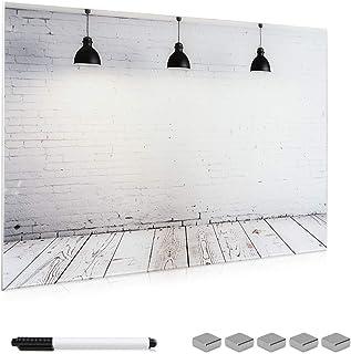 Navaris Tableau Blanc magnétique - Panneau d'affichage magnétique 90 x 60 cm avec aimants - Tableau mémo effaçable en Verr...