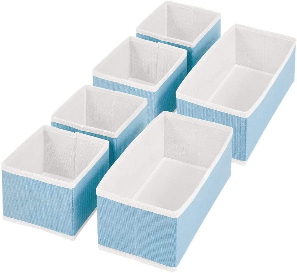 Turquoise//White mDesign Wardrobe Storage Boxes Bedroom Storage Units for Drawer Organisation Set of 6 Fabric Storage Bins with Textured Print for Clothing and Accessories