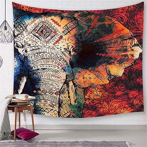 Morbuy Psychedelic Elefant Wandteppich, Dekoration Tapisserie Kreativ Motiv Wandbehang aus Polyster Wandtuch Tischdecke Meditation Yogamatte Strandtuch (Groß (150 x 200cm), Rote Blaue Weinlese)