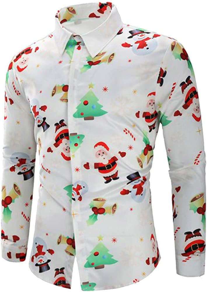 YOcheerful Men Christmas T Shirt Santa Candy Printed T-Shirt Tee Top Blouse Holiday Party Henley Dress Shirt
