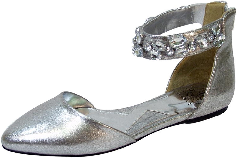 Fuzzy FIC Jill Women Extra Wide Width Ankle Strap Metallic Flat Silver 8.5