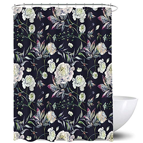 Homewelle Vintage Floral Shower Curtain 60Wx72H Watercolor Retro Flower Blooming White Peony Plants Leaves Background Waterproof 12 Pack Hooks Polyester Fabric Bathroom Bathtub