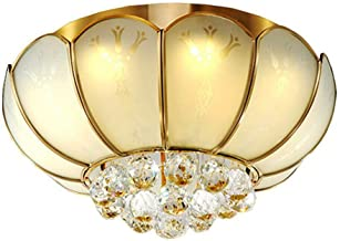 Ceiling Lighting Close-to-Ceiling Lights Creative American Living Room Ceiling lamp Copper LED Crystal lamp Bedroom Flower...