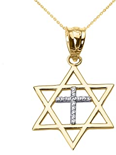High Polish 14k Yellow Gold Jewish Charm Star Diamond Cross of David Pendant Necklace