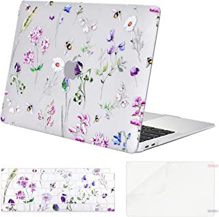 MOSISO MacBook Air 13 inch Case 2019 2018 Release A1932 with Retina Display, Plastic Pattern Hard Shell & Keyboard Cover & Screen Protector Only Compatible with MacBook Air 13, Crystal Bee & Floral