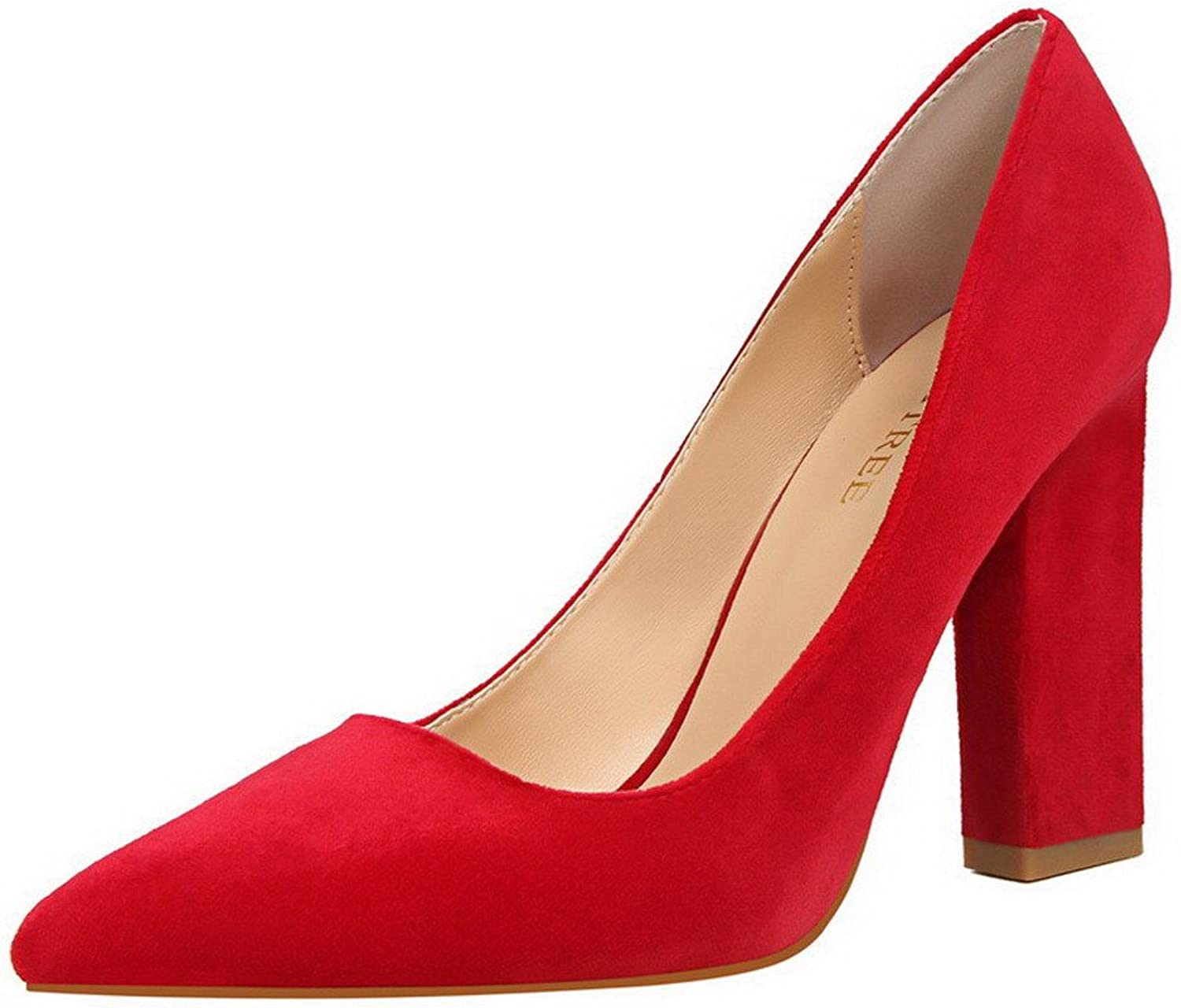 AllhqFashion Women's High-Heels Imitated Suede Pointed-Toe Pull-On Pumps-shoes