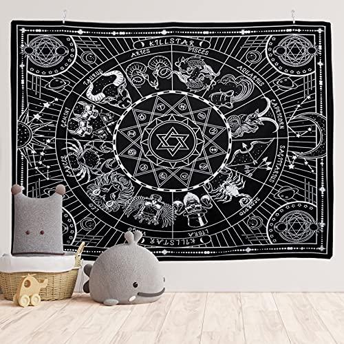 Yordawn Tapiz Pared 12 Constelación Decoracion Pared Black y White Tapiz Pared Decoracion Tapiz de Pared Grande Wall Tapestry Aesthetic para Dormitorio Sala de Estar 150x200CM